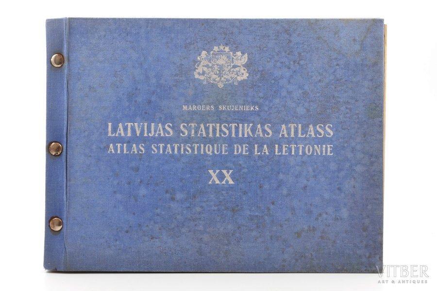 """Margers Skujenieks, """"Latvijas statistikas atlass"""", 1938, Valsts statistikas pārvaldes izdevums, Riga, XVI, 63, 56 pages, 25.5 x 35 cm, with tracing paper insert"""