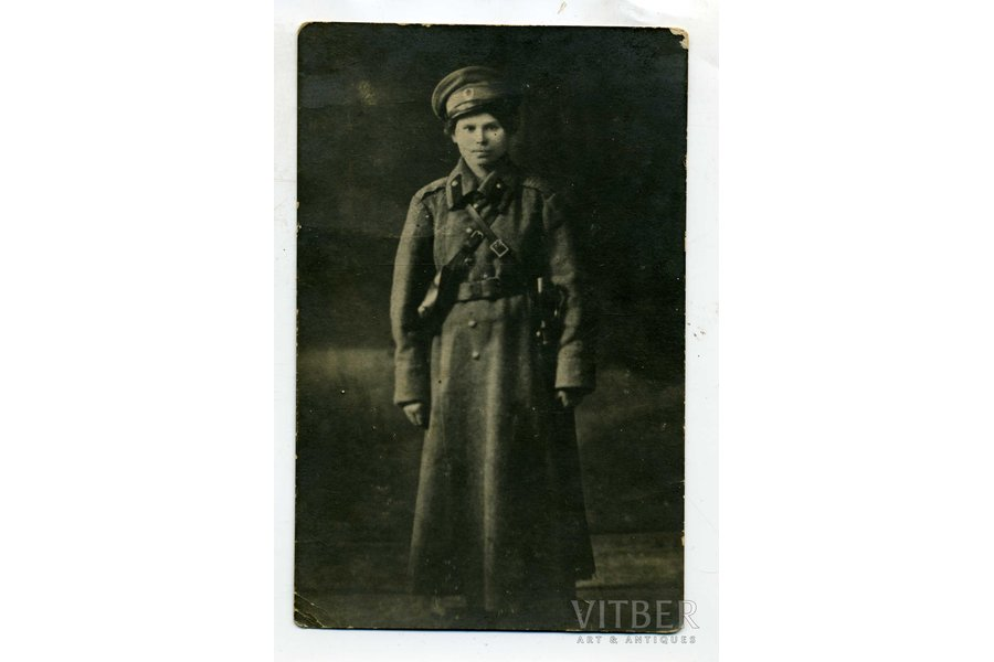 photography, woman in army uniform, Russia, beginning of 20th cent., 13,2x8,4 cm