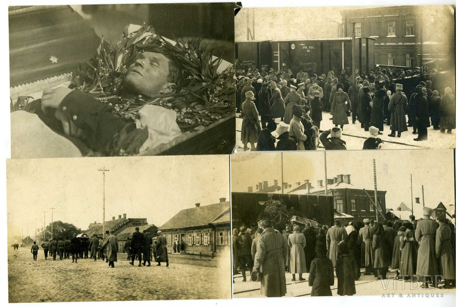 photography, 4 pcs., pilot Oļģerts Teteris - chevalier of all 4 classes of the Cross of St. George. Killed in an air battle near Dviete. Solemnly buried at the Brothers' Cemetery in Riga on March 3 (26), 1917. In the photo - the funeral in the Daugavpils Church, Latvia, Russia, beginning of 20th cent., 14,5x9,5, 13,8x9, cm