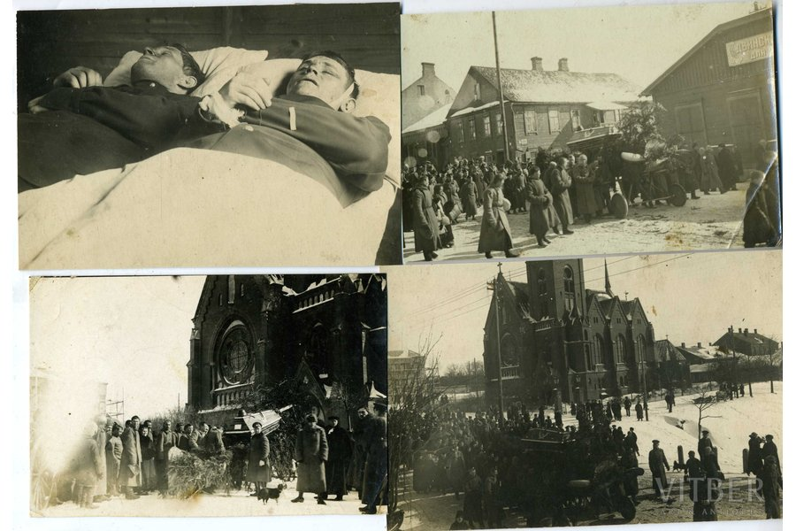 photography, 4 pcs., pilot Oļģerts Teteris - chevalier of all 4 classes of the Cross of St. George. Killed in an air battle near Dviete. Solemnly buried at the Brothers' Cemetery in Riga on March 3 (26), 1917. In the photo - the funeral in the Daugavpils Church, Latvia, Russia, beginning of 20th cent., 14,5x9,8, 14,2x9,4, 13,5x9, 15,4x10 cm