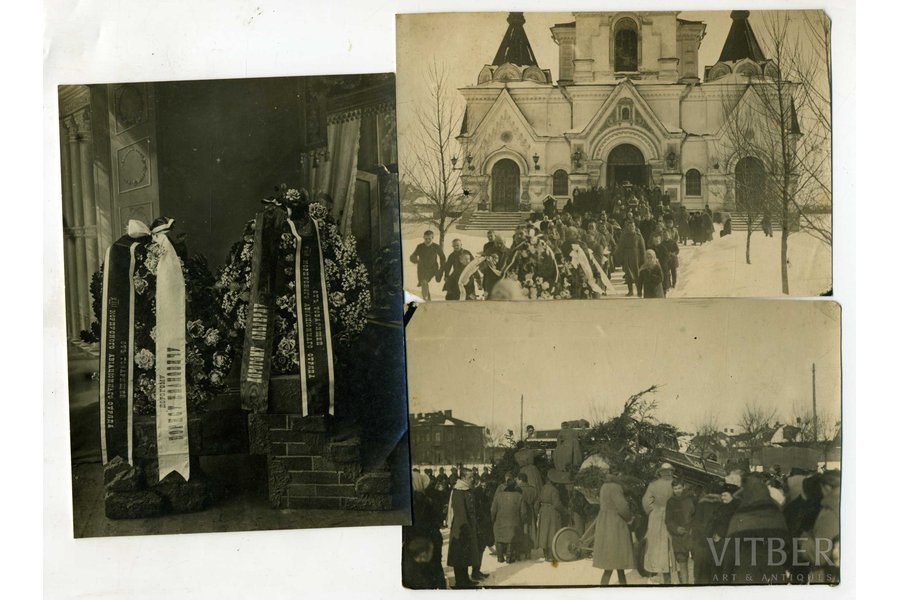 photography, 3 pcs., pilot Oļģerts Teteris - chevalier of all 4 classes of the Cross of St. George. Killed in an air battle near Dviete. Solemnly buried at the Brothers' Cemetery in Riga on March 3 (26), 1917. In the photo - the funeral in the Daugavpils Church, Latvia, Russia, beginning of 20th cent., 14,5x11, 14x9,2 cm
