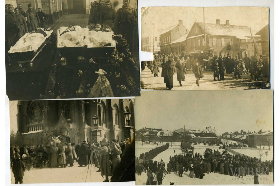 photography, 4 pcs., pilot Oļģerts Teteris - chevalier of all 4 classes of the Cross of St. George. Killed in an air battle near Dviete. Solemnly buried at the Brothers' Cemetery in Riga on March 3 (26), 1917. In the photo - the funeral in the Daugavpils Church, Latvia, Russia, beginning of 20th cent., 14,5x11, 13,8x9, 13,5x9, 15x10,2 cm
