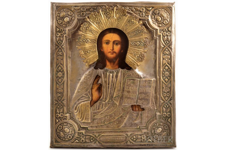 icon, Jesus Christ Pantocrator, board, painting, brass, Russia, 30.7 x 26.5 x 2.3 cm