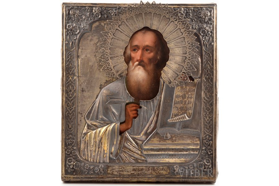 icon, Saint John the Apostle, board, silver, painting, 84 standart, by Gustav Magnus Ockerblom, Russia, 1832-1850, 31 x 27.2 x 2.6 cm (size without oklad), silver oklad weight 335.45 g