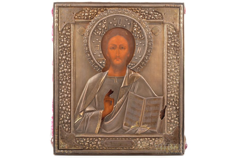 icon, Jesus Christ Pantocrator, board, silver, painting, 84 standart, Russia, 1896-1907, 31 x 26.5 x 2.4 cm (size without oklad), silver oklad weight 279.95 g