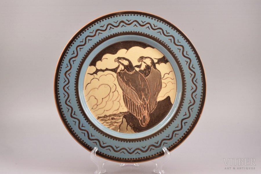 wall plate, ceramics, sculpture's work, Riga Ceramics Factory, handpainted by N. Nikolayev, Riga (Latvia), 1940, Ø 31.2 cm