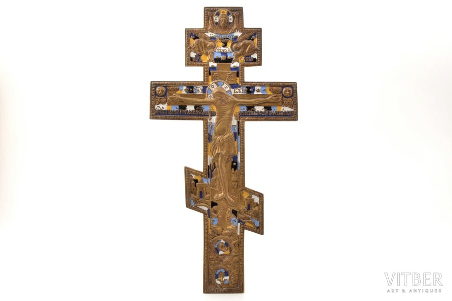 cross, The Crucifixion of Christ, copper alloy, 5-color enamel, Russia, the beginning of the 20th cent., 37.7 x 19.5 x 0.6 cm, 1000.5 g.