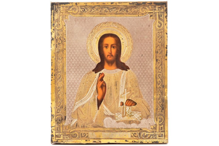 icon, Jesus Christ Pantocrator, board, silver, painting, guilding, 84 standart, Russia, 1881, 13.4 x 11.1 x 1.6 cm