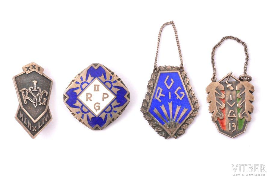 set, 4 gymnasium graduation badges, silver, enamel, 875 standart, Latvia, 20-30ies of 20th cent.
