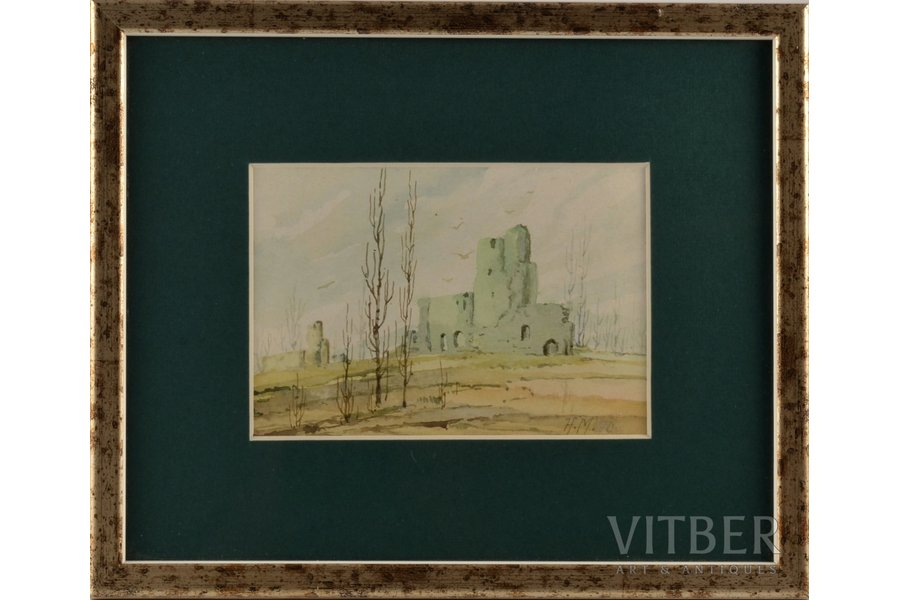 Mangolds Herberts (1901-1978), Oriental motif, paper, water colour, 10х14 cm