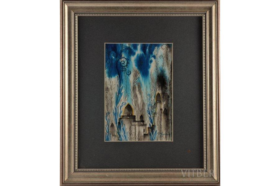 Mangolds Herberts (1901-1978), Oriental motif, paper, water colour, 19.5x13.5 cm