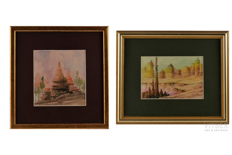 2 watercolor paintings, Mangolds Herberts (1901-1978), Oriental motif, paper, water colour, 12.5x13.5 / 10.5x15.5 cm