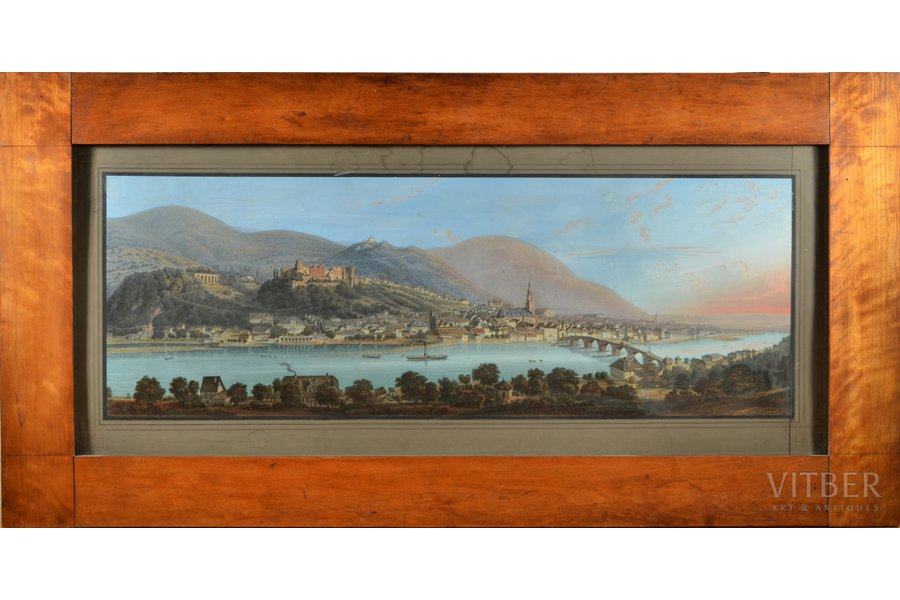 """unknown author, """"Panorama"""", paper, colored lithograph, 32.5 x 78 cm, with the L. Meder in Heidelberg imprint on the back"""