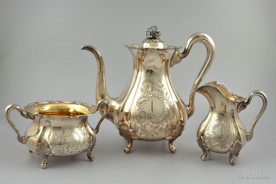 service, silver, 830 standart, 3 items: coffeepot, sugar-bowl, cream jug, engraving, gilding, 1940, 1342.9 g, (coffeepot) 761.55 g + (sugar-bowl) 332.15 g + (cream jug) 249.20g, Finland, 23 / 13.4 / 9.9 cm