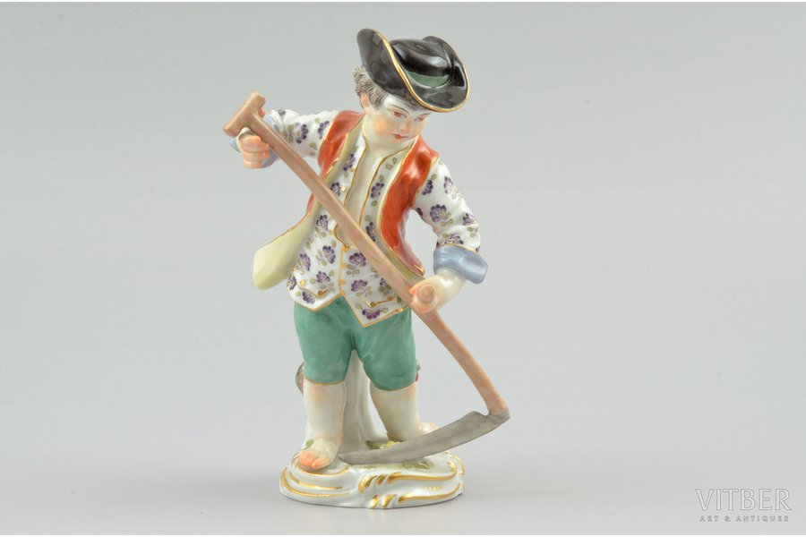 figurine, The boy with a scythe, porcelain, Germany, Meissen, the 19th cent., h 12.5 cm, Surface chipp on the left lapel of the vest and on the right cuff