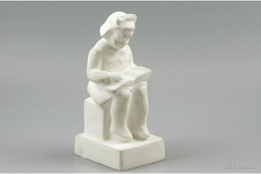 figurine, a Girl with a book, gypsum, Riga (Latvia), USSR, sculpture's work, molder - Lūcija Otīlija Žurgina, 1962, 15 cm