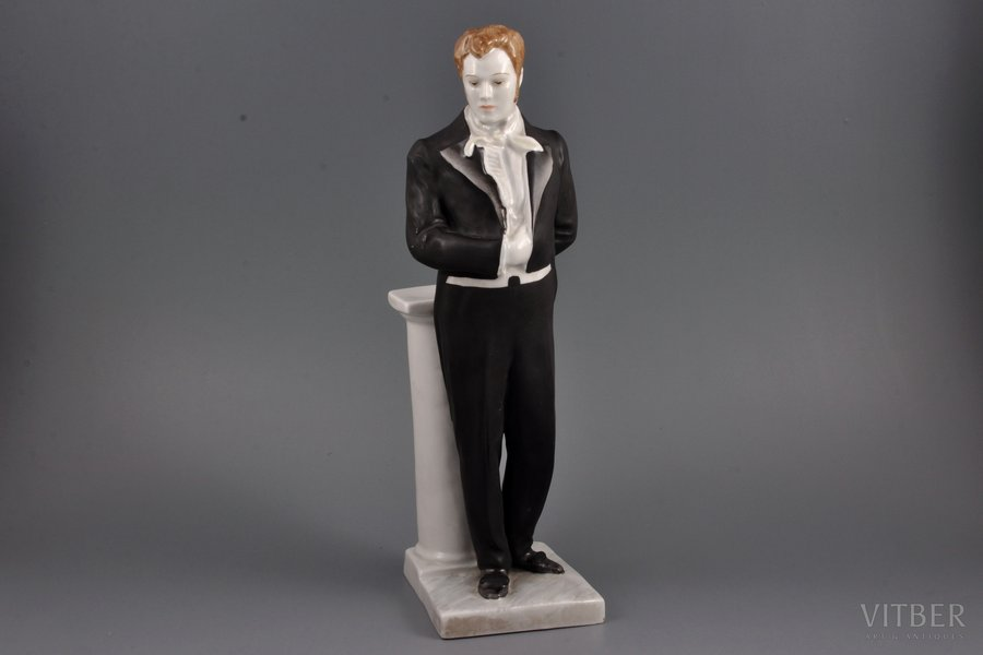 figurine, Artist Nortsov in the role of Onegin, porcelain, USSR, LFZ - Lomonosov porcelain factory, molder - I. Slonym, the 50-60ies of 20th cent., 31.6 cm, first grade