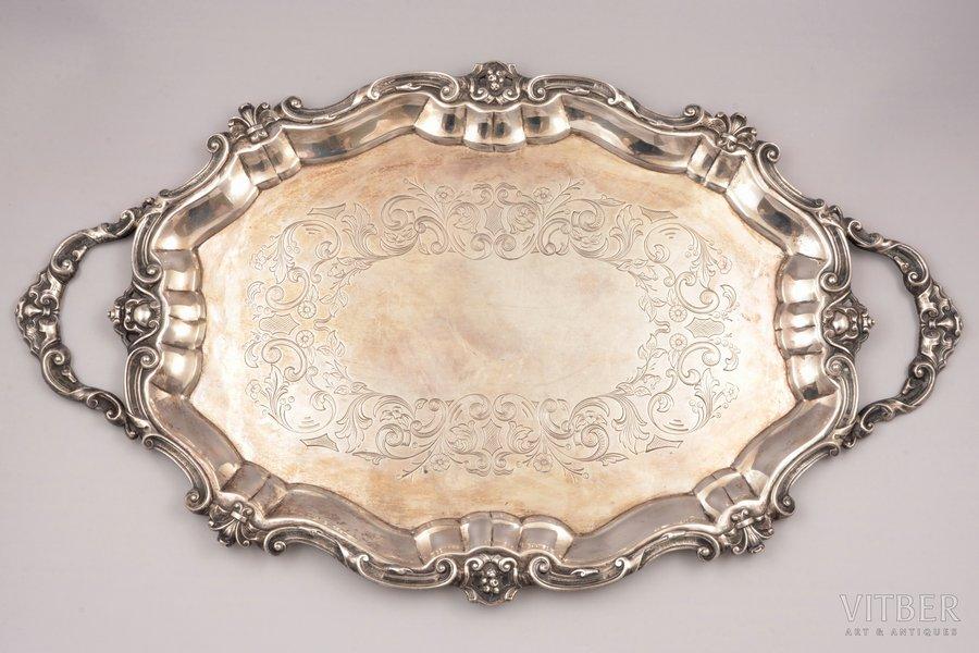 tray, silver, engraving, 1255.80 g, Europe, 58 x 34 cm