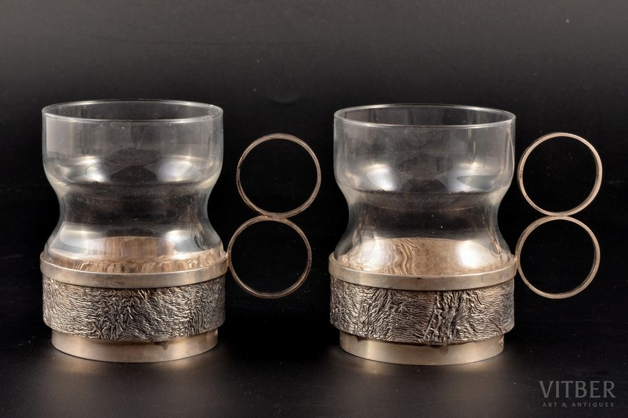 """pair of tea glass-holders, silver, 830 standart, """"Nugget"""", gilding, with glasses, 1971, approximate total weight of items (without glass) 118.4g, Finland, h (with handle) 8 cm"""