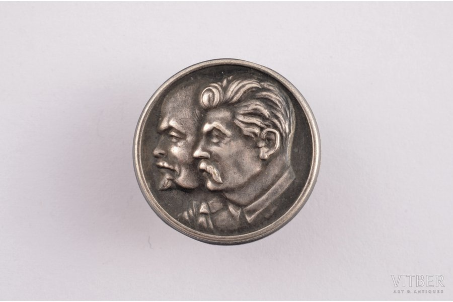 """badge, Stalin and Lenin, silver, Latvia, USSR, 1940, 21.8 x 21.8 mm, """"S. Bercs"""" firm"""