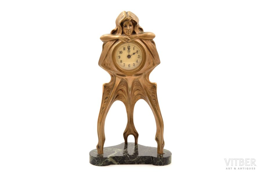 """table clock, """"Junghans"""", Art-Nouveau, Germany, the border of the 19th and the 20th centuries, 864.55 g, h 26.3 cm, Ø 49 mm, maintenance of mechanism is required"""