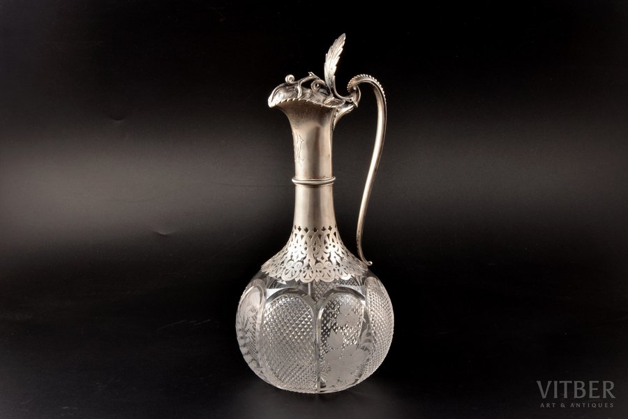 carafe, silver, 84 standart, gilding, crystal, 1880-1890, by Albrecht Kirill (Karl) Fedorovich, St. Petersburg, Russia, h 29.5 cm