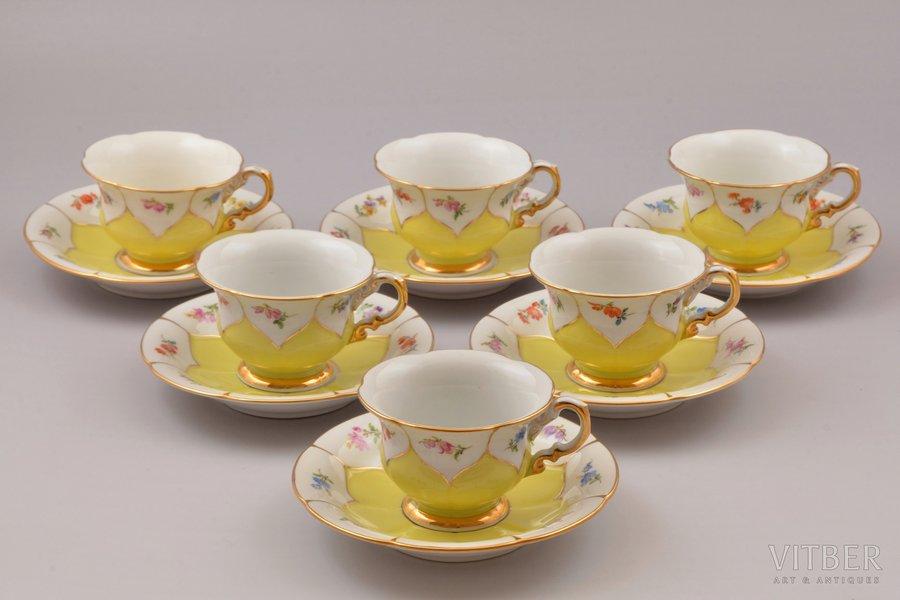 servīze, 6 personām (6 tējas pāri - 12 priekšmeti), porcelāns, Meissen, Vācija, h (tasīte) 5.1 cm, Ø (apakštasīte) 12.6 cm