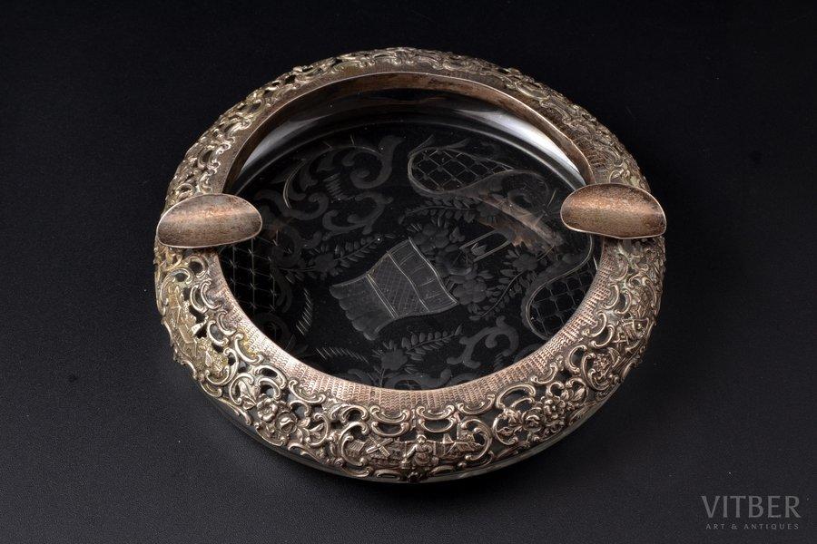 ashtray, silver, 800 standart, crystal, Germany, Ø 17.4 cm