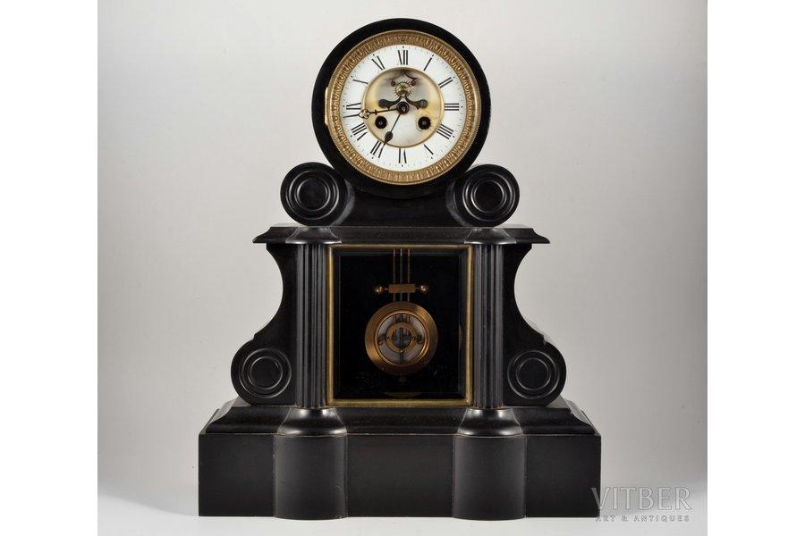 mantel colck, 1880, black slate, 21750 g, 47х38х17 cm, mechanism in working order