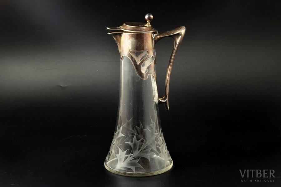 jug, silver, 800 standart, glass, Germany, h 26.2 cm