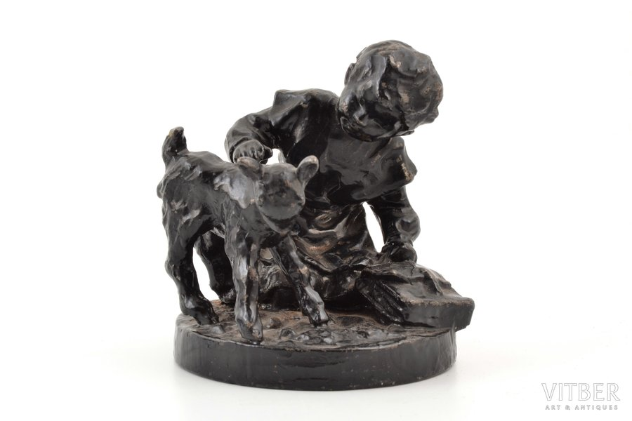 """figurine, """"Girl with a goatling"""", cast iron, h 9.6 cm, weight 872.55 g., USSR"""