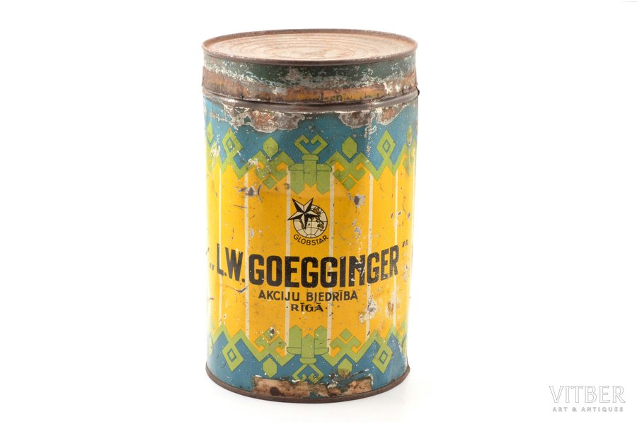 "box, joint-stock company ""L.W. Goegginger"", Rīga, metal, Latvia, the 20-30ties of 20th cent., h 26.2 cm"
