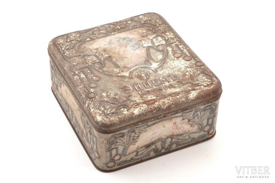 """candy box, company """"Einem"""" in Moscow, Art-Nouveau, metal, Russia, the beginning of the 20th cent., 8.8 x 17.6 x 19.5 cm"""