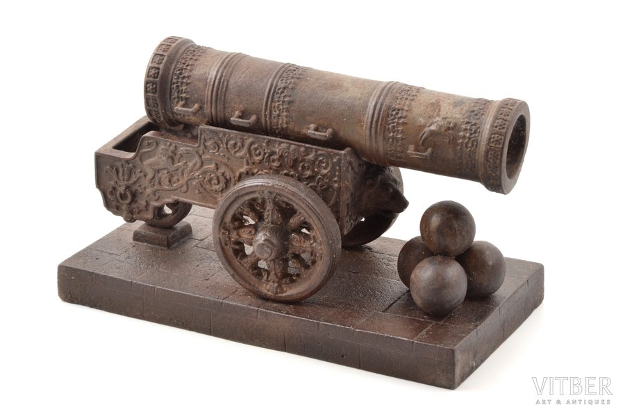 "sculpture, ""Tsar Cannon"", model by V.P. Kreitan, cast iron, 14.5 x 23.8 x 11.7 cm, weight 3450 g., USSR, Kasli, the 2nd half of the 20th cent."