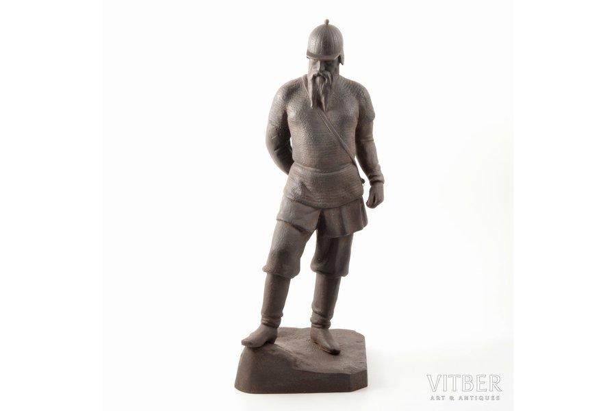 "figurine, ""Yermak"", cast iron, h 46 cm, weight 7200 g., USSR, Kasli, 1964?, broken sword"
