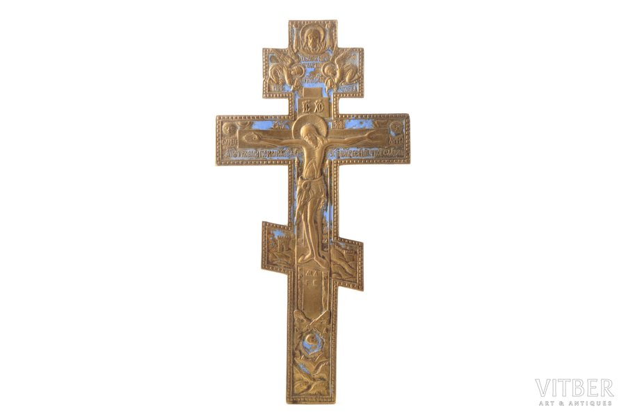 cross, The Crucifixion of Christ, copper alloy, 1-color enamel, Russia, the border of the 19th and the 20th centuries, 28.5 x 14.5 x 0.4 cm, 318.05 g.