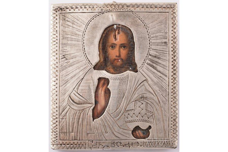 icon, Jesus Christ Pantocrator, board, silver, painting, 84 standart, Egorov Alexander Sergeev's workshop, Russia, 1868, 4.8 x 4.1 x 0.5 cm