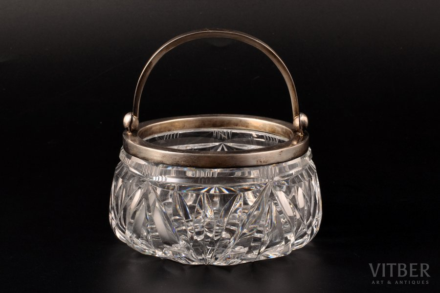 candy-bowl, silver, 875 standart, crystal, the 30ties of 20th cent., Latvia, Ø 11.1 cm, h (with handle) 11.3 cm, traces of everyday use