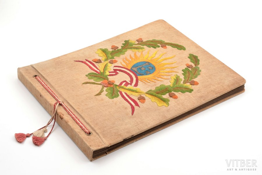 photo album, with symbolics of the Latvian Army, 21 sheet, embroidery, Latvia, the 20-30ties of 20th cent., 37 x 28.5 cm