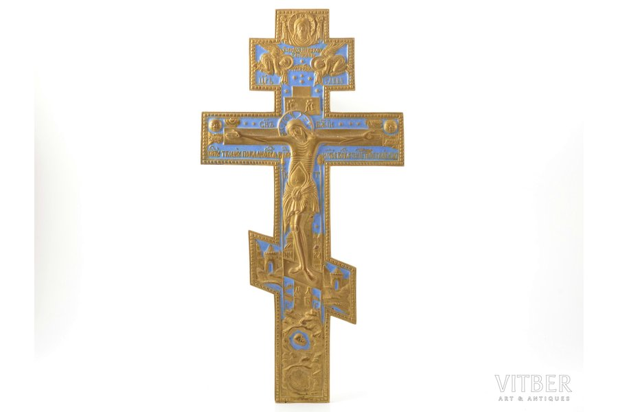 cross, The Crucifixion of Christ, copper alloy, 1-color enamel, Russia, the border of the 19th and the 20th centuries, 38.2 x 19.7 x 0.7 cm, 1056.1 g.