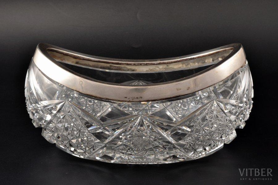 fruit dish, silver, 830 standart, crystal, Finland, 12 x 22 x 13.5 cm