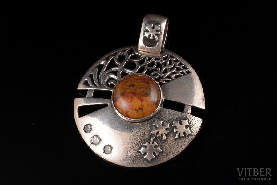 a pendant, silver, 925 standart, 18.82 g., the item's dimensions 5.6 x 4.5 cm, jasper, Ukraine
