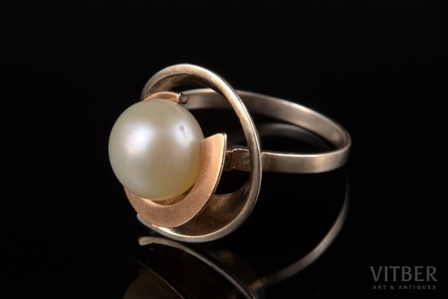 a ring, gold, silver, 875, 375 standart, 4.86 g., the size of the ring 18.5, pearl, Ukraine, diameter of pearl 9.8 mm