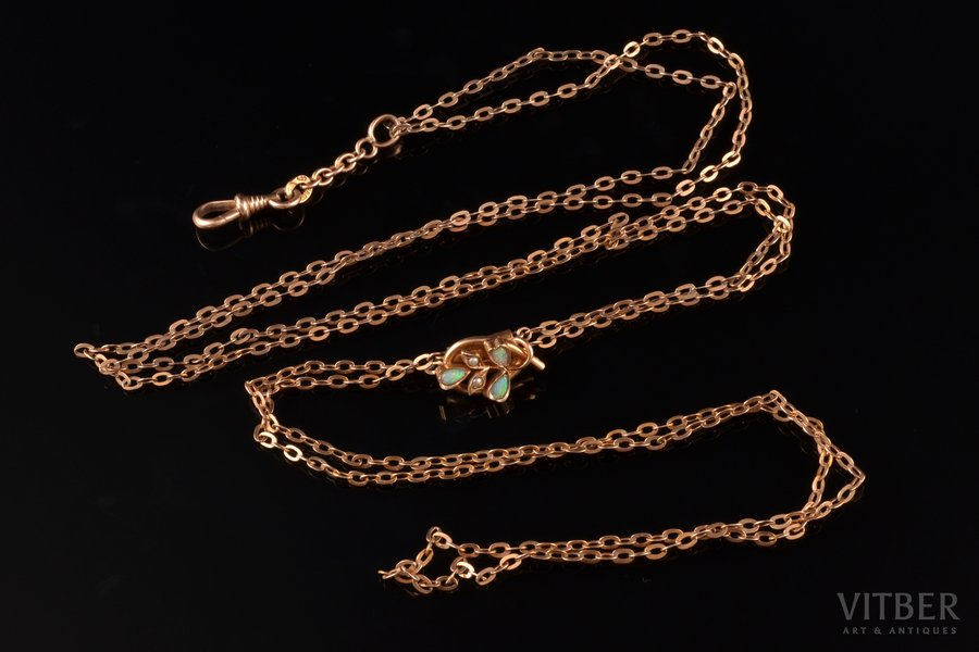 watchguard, gilding, pearl, opal, chain lenghth 70 x 2 cm