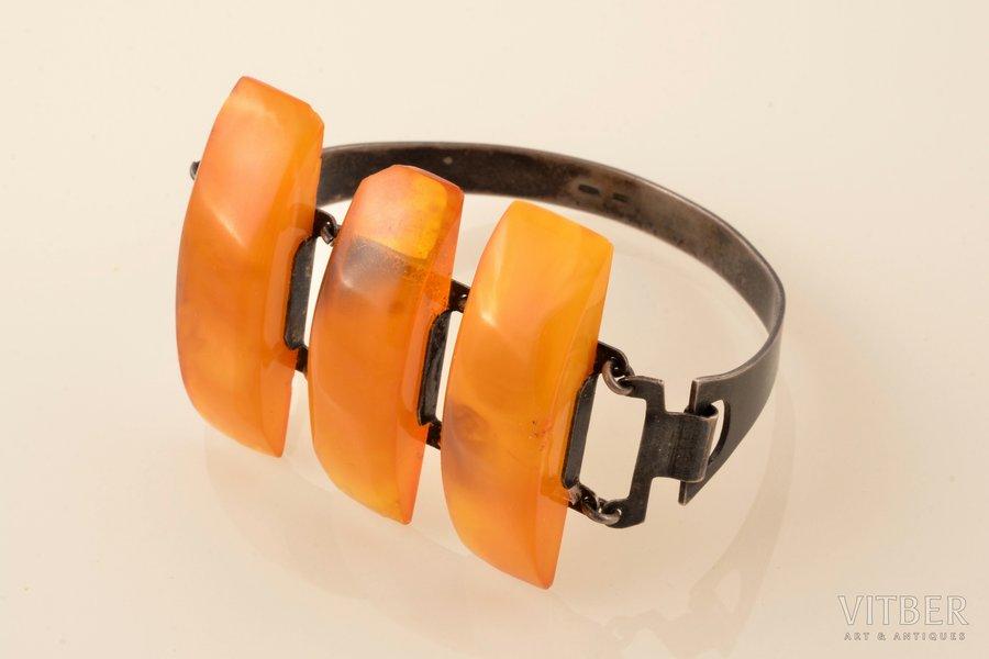 a bracelet, silver, 875 standart, 23.30 g., the diameter of the bracelet 5 x 6.3 cm, amber, the 2nd half of the 20th cent., Kaliningrad Amber Plant, Latvia, USSR