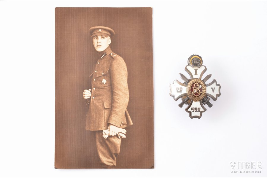 badge, a photo, 1st graduation of the Military school, Latvia, 20ies of 20th cent., 53 x 42 mm