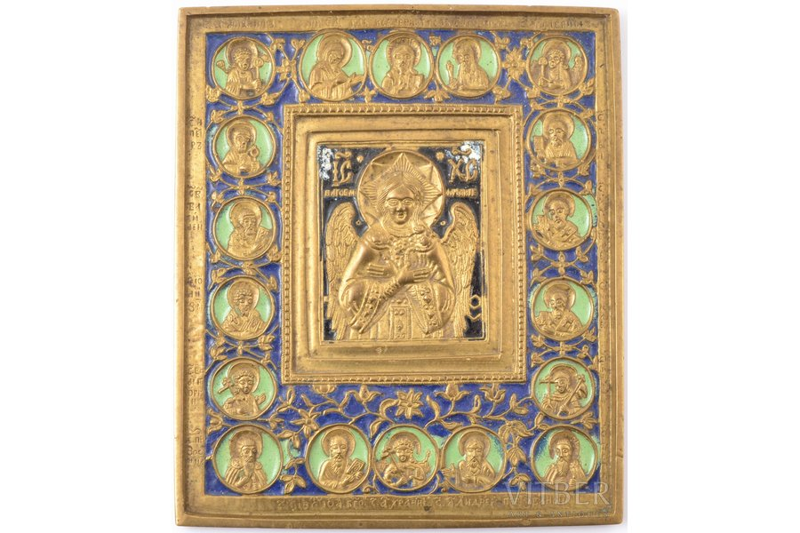 icon, Jesus Christ the Blessed Silence, copper alloy, 4-color enamel, Russia, the 19th cent., 15.3 x 13.1 x 0.8 cm, 816.25 g., Moscow