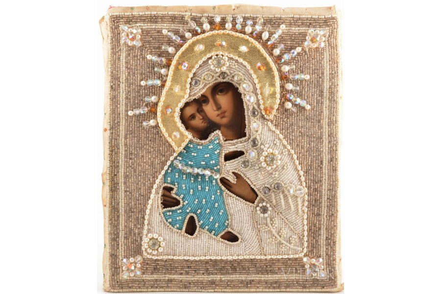 """icon, Mother of God """"Virgin of Tenderness"""" (""""Eleusa""""), board, painting, beadwork, Russia, the border of the 19th and the 20th centuries, 26.5 x 21.7 x 2.2 cm"""