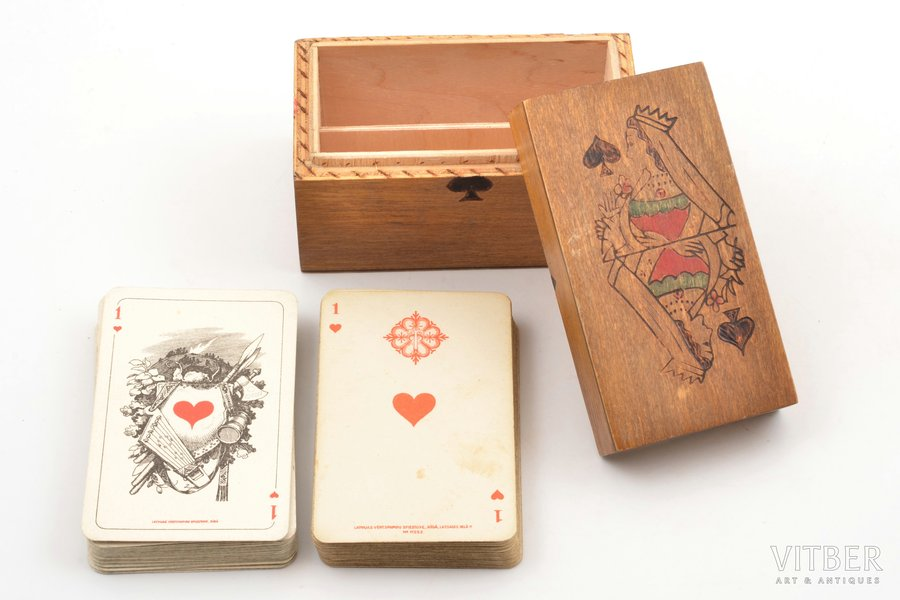 set of playing cards, 2 sets (36 + 36 pcs.), Latvia, 20-30ties of 20th cent., in a wooden box, box size 6.8 x 11 x 6 cm, publisher: Latvijas Vērtspapīru Spiestuve, Riga