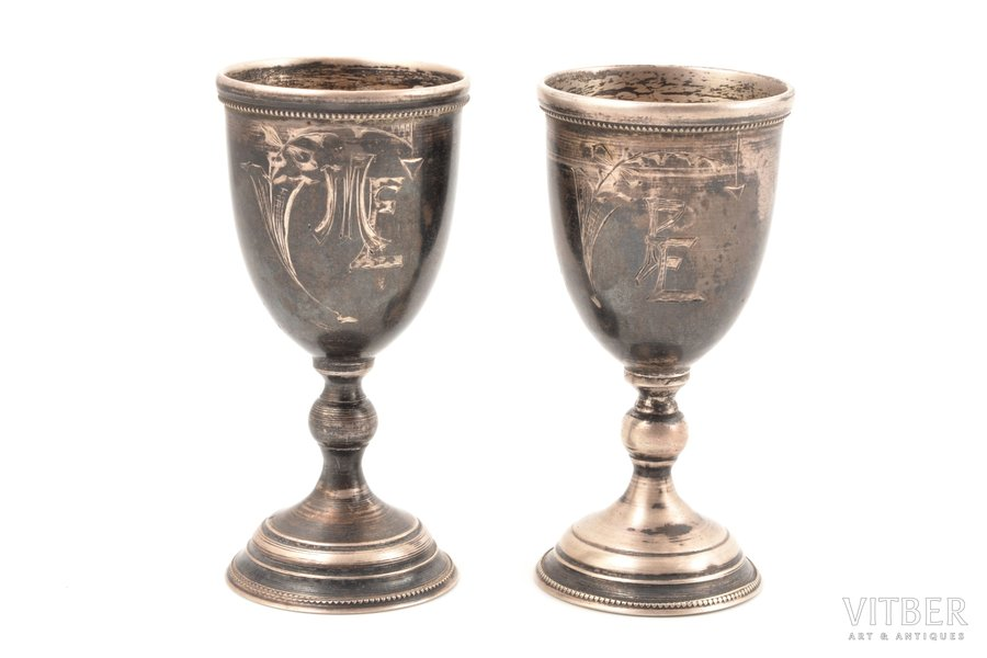 pair of little glasses, silver, 875 standart, engraving, the 20-30ties of 20th cent., total weight of items 55.95g, Latvia, h 8.3 cm
